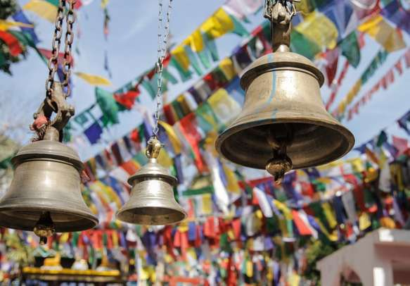 Bells and praying flags in Darjeeling, India. - Image