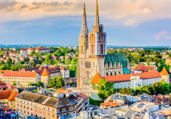 Aerial view on cathedral in Zagreb city capital town of Croatia