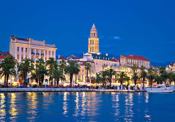 Colorful split waterfront evening view Dalmatia Croatia