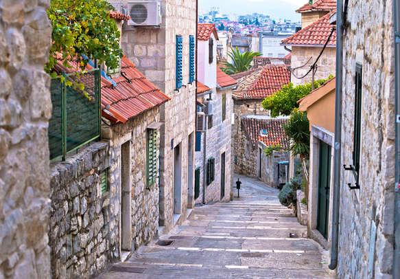 Old stone street of Split historic city Dalmatia Croatia