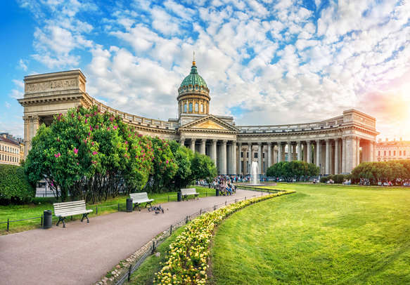 A quiet summer sunny evening at the Kazan Cathedral in St. Petersburg