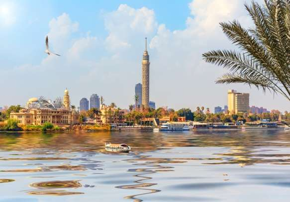 Amazing View of the Cairo Tower in Gezira island in the Nile, Egypt