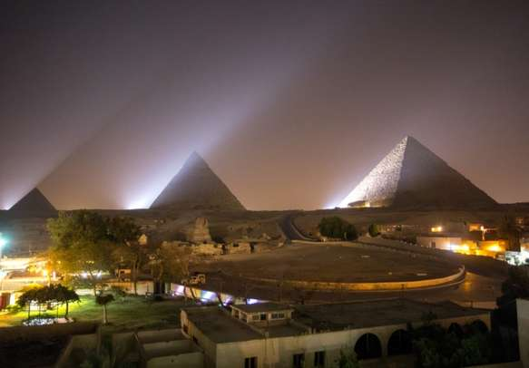 The Great pyramid at night in Giza, Egypt