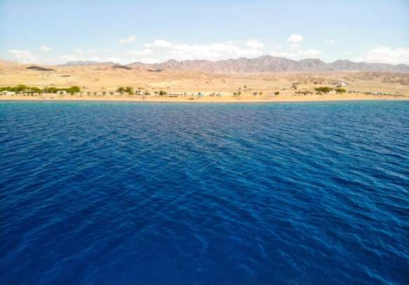 Dead Sea with mountains from Israel in the background