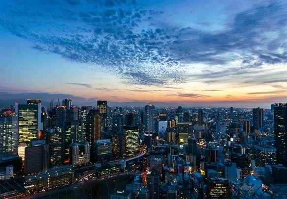 Aerial view of beautiful Osaka night city scape, Japan