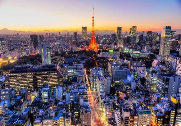 Panoramic view of Tokyo Skyline in Tokyo, Japan