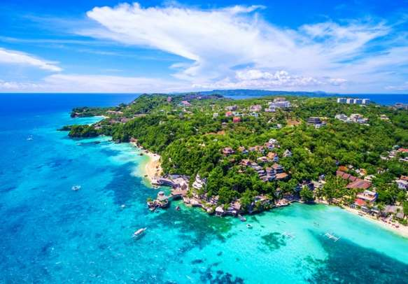 An Amazing Aerial view of Western Visayas, Boracay Island in Philippines