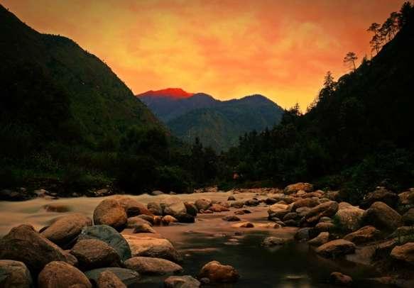 Sunset at Tirthan Valley in Himachal Pradesh