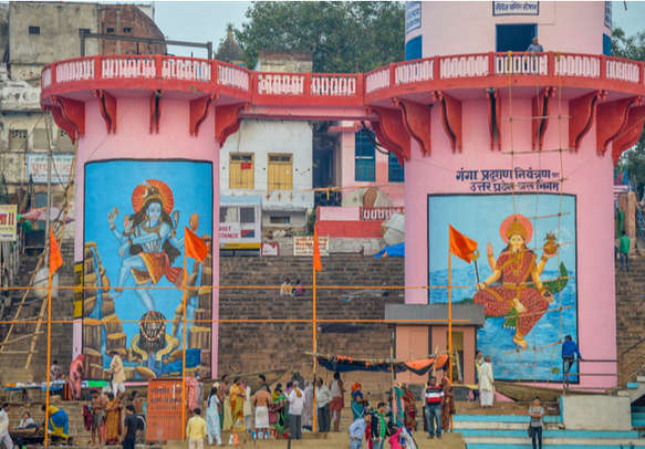 Pink Tower Shrines to the Gods at the Ghats in Varanasi