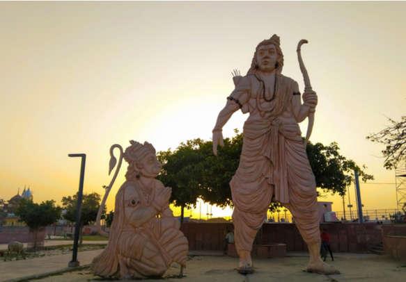 Idols of Ram and Hanuman Lord standing in Ayodhya city