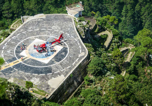 Helicopter landing at the Helipad in Katra