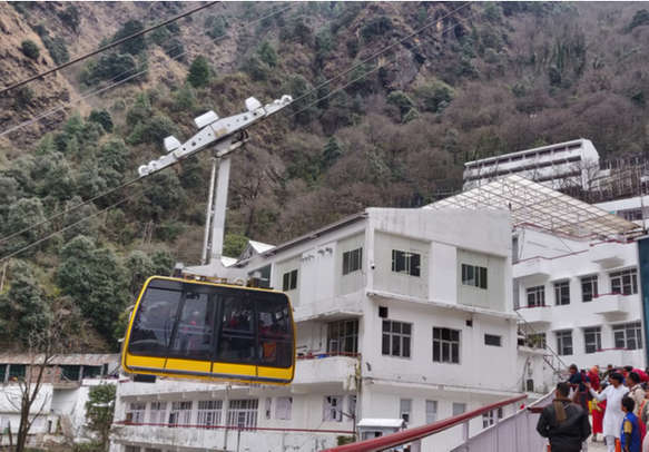 Newly opened ropeway at Vaishno Devi which is used as a transport from Bhawan to Bhairo mandir