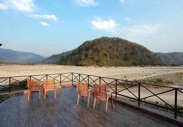 Spacious balcony overlooking breathtaking mountain views