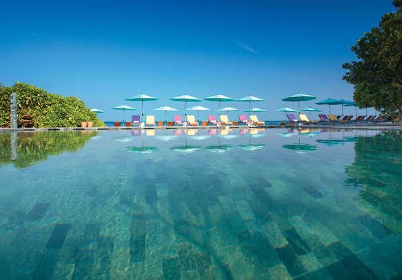 Relax on the beach front pool or chill in the bar