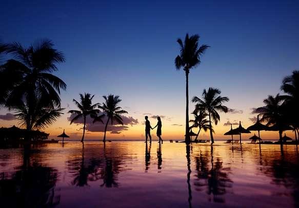 A couple enjoying in Mauritius