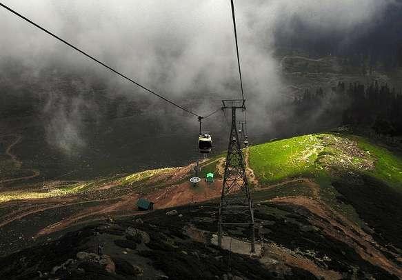 The popular Gondola cable car ride in Gulmarg