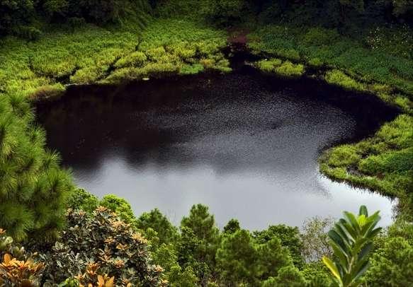 The famous volcanic crater Trou aux cerfs in Mauritius
