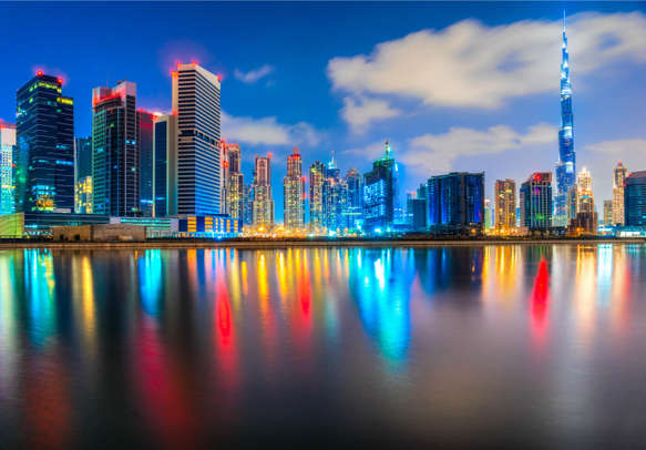 Dubai's skyline adorned with its towering skyscrapers
