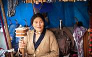 Tibetan handicrafts being sold by a woman