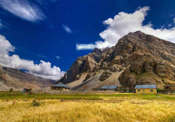 Sceneic view of Drass village with blue cloudy sky background