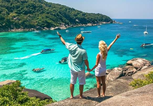 A young couple enjoying their honeymoon in Phuket