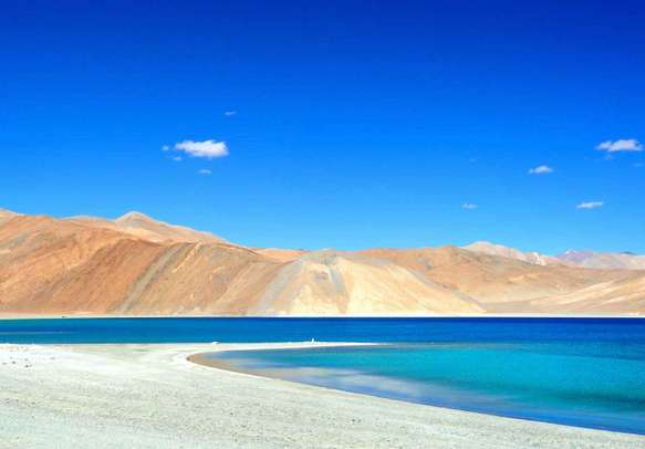 Pangong lake with clear blue sky
