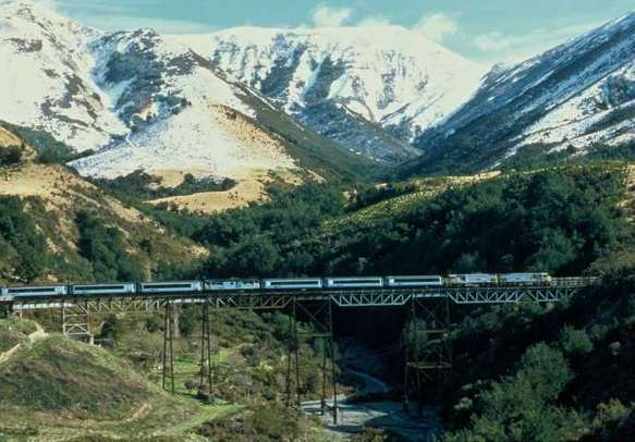 Enjoy the scenic journey in the Tranzalpine train from Greymouth to Christchurch.