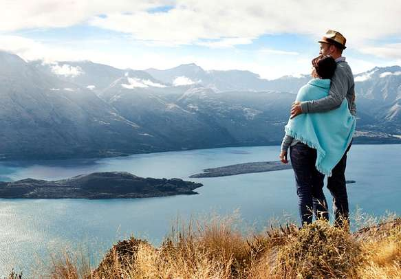 A tourist couple enjoying sightseeing in New Zealand
