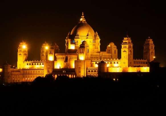 Umaid Bhawan glows beautifully at night