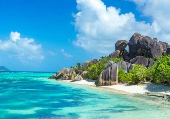 Beautiful beach on tropical island La Digue in Seychelles.