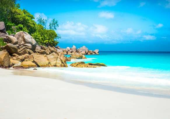 The captivating Anse Georgette at Praslin.