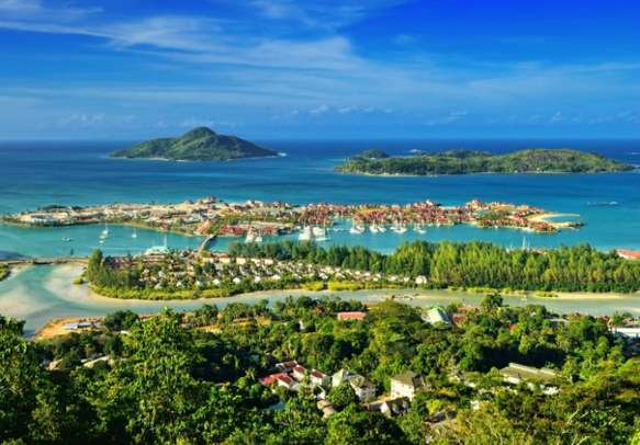Aerial view on the coastline of the Seychelles Islands and luxury Eden Island from Victoria viewpoint in Mahé.