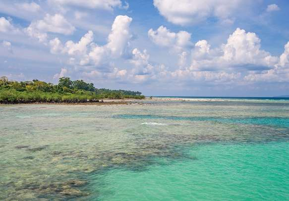 Turquoise water at Bharatpur Beach of Neil Islands in Andaman.