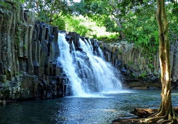 Waterfall in Mauritius.