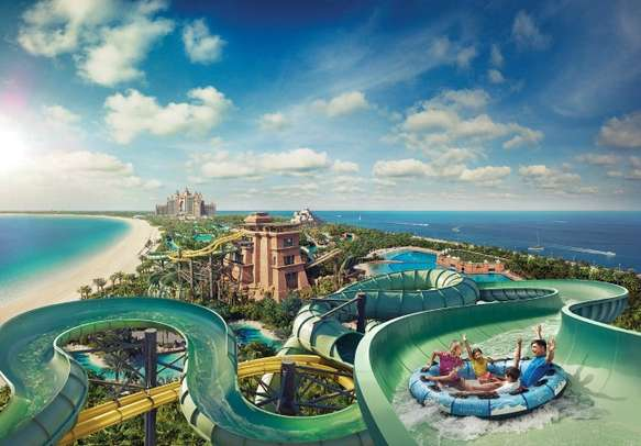 Enjoy some thrilling water rides and marine adventures in Aquaventure Waterpark.