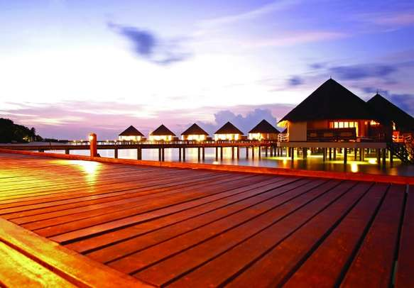 Evening view of a resort in Maldives