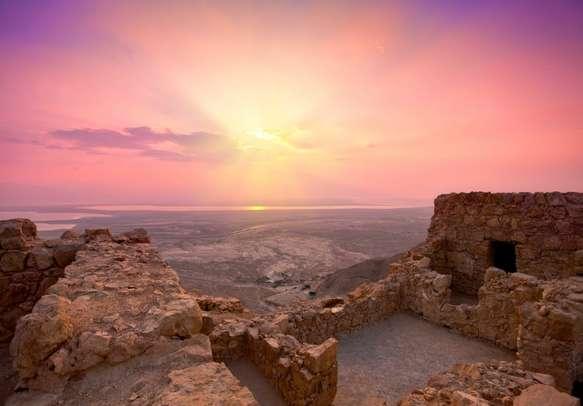Enjoy a beautiful sunrise at Masada