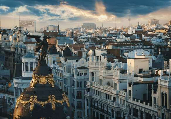 Madrid at sunset is a sight to behold.