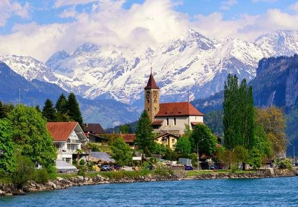 Stroll along the beautiful Lake Brienz at Interlaken.