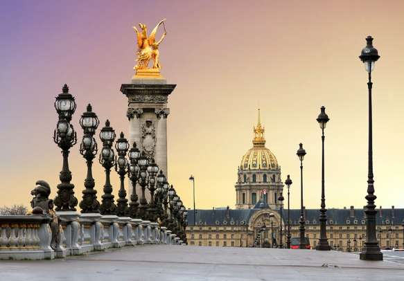 Enjoy sunrise at the Pont Alexandre III and Les Invalides in Paris