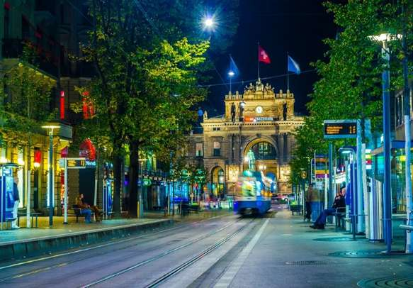 Explore the scenic charm of Bahnhofstrasse in Zurich.