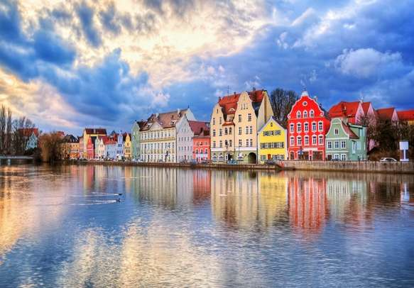 Enjoy the beautiful view of colorful houses in Munich.
