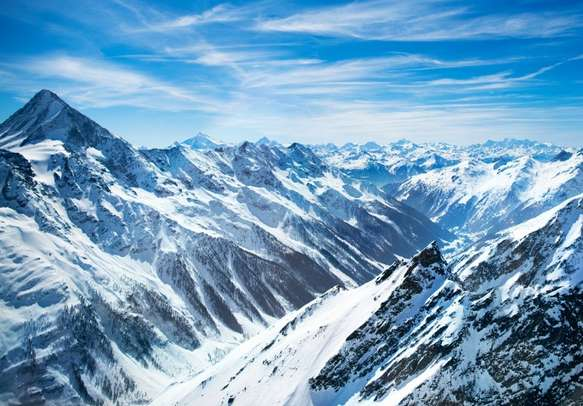 The snow-covered Alps offer breathtaking views