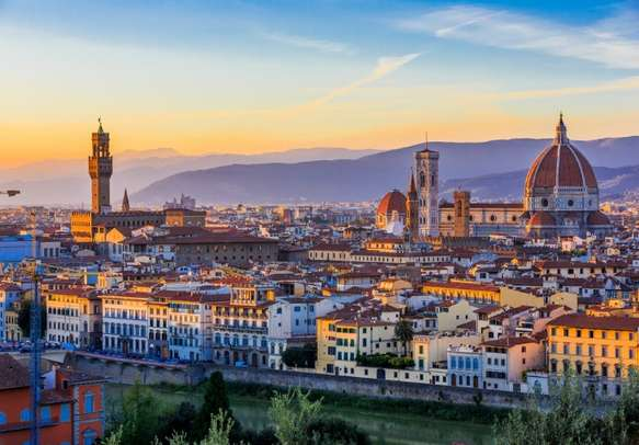 View of Florence after sunset from Piazzale Michelangelo.