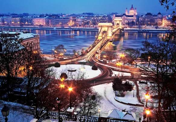 Explore Budapest at night and enjoy the scenic views.