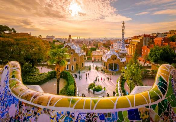 Delight in the view of Barcelona city
