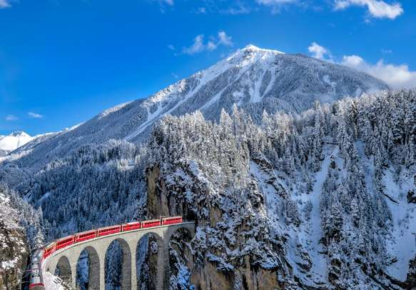 The train ride in Swiss Alps will leave you spellbound