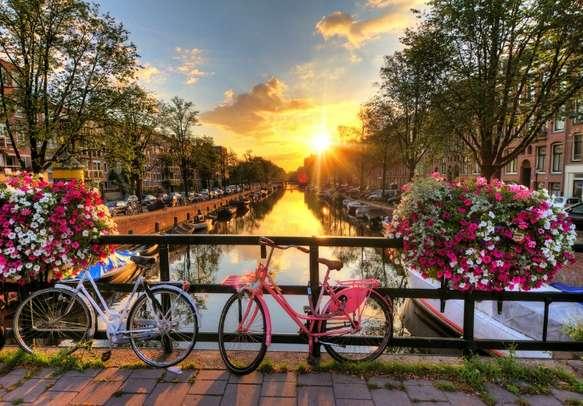 Enjoy the beautiful sunrise views in Amsterdam