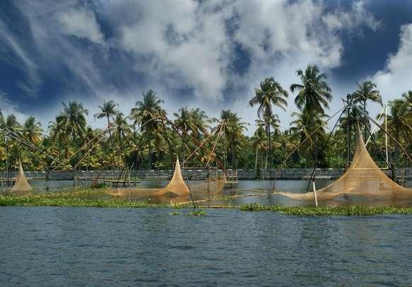 Chinese fishing nets on Vembanad Lake