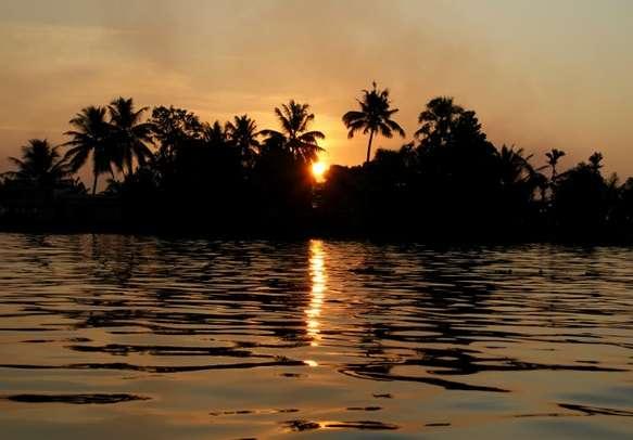 Beautiful sunset on Vembanad Lake